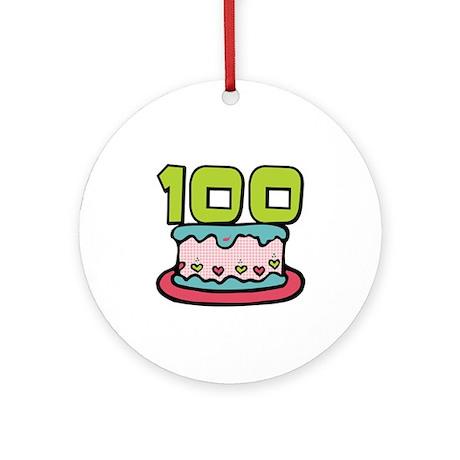 100th Birthday Cake Ornament (Round)