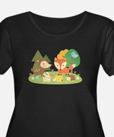 Cute Woodland Animal Theme For Kids Plus Size T-Sh