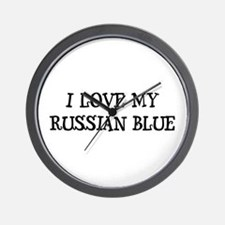 I Love My Russian Blue Wall Clock