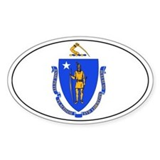 Massachussetts state flag Oval Decal