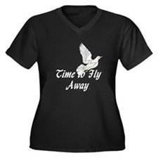 Time to Fly Women's Plus Size V-Neck Dark T-Shirt