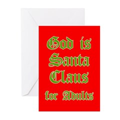 God is Santa 4 Adults Greeting Cards (Pk of 20)
