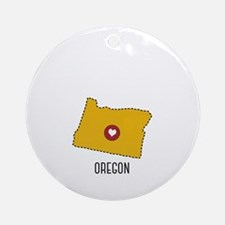 Oregon State Heart Round Ornament