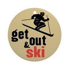 Get Out & Ski Ornament (Round)