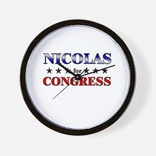 NICOLAS for congress Wall Clock