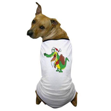 Christmas Crocodile Dog T-Shirt