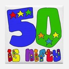 50 is Nifty (stars) Tile Coaster