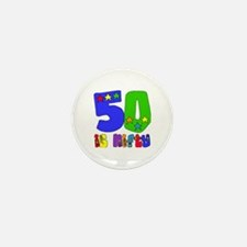 50 is Nifty (stars) Mini Button (10 pack)