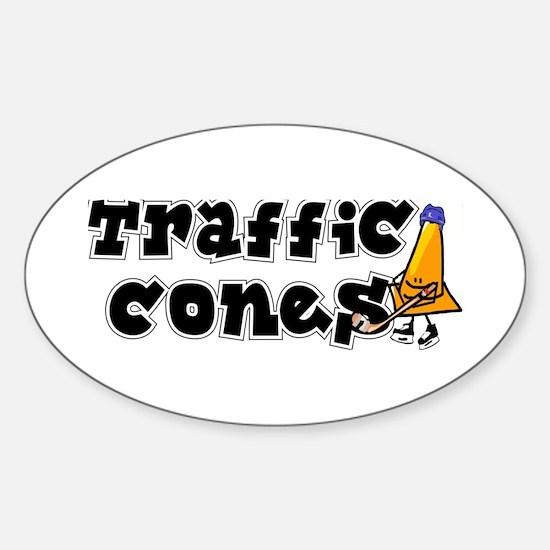 Oval Sticker. Traffic cones.