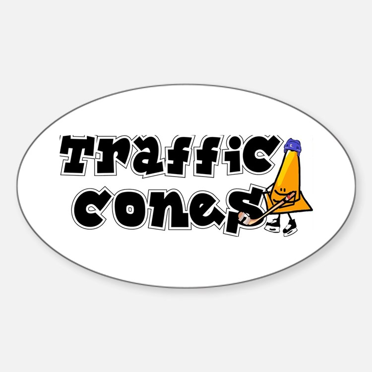 Oval Sticker. Traffic cones.
