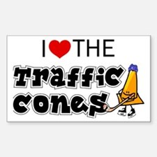 Rectangle Sticker, Traffic Cones
