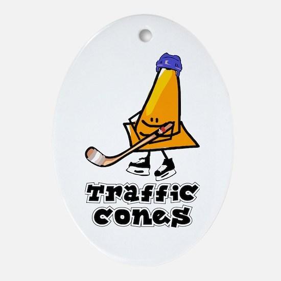 Oval Ornament. Traffic Cones.