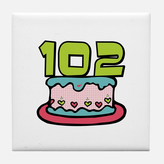 102nd Birthday Cake Tile Coaster