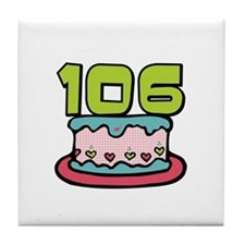 106th Birthday Cake Tile Coaster