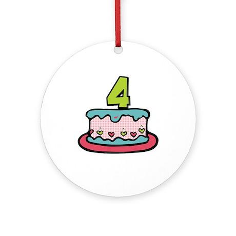 4th Birthday Cake Ornament (Round)