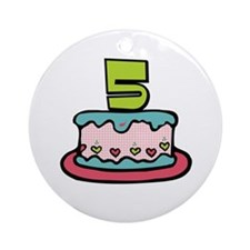 5th Birthday Cake Ornament (Round)