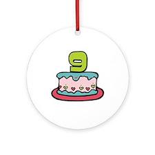 9th Birthday Cake Ornament (Round)