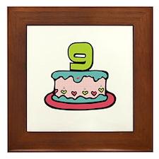 9th Birthday Cake Framed Tile