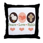 Peace Love Faith Christian Throw Pillow
