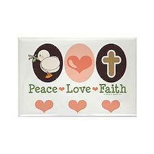 Peace Love Faith Christian Rectangle Magnet