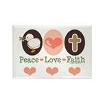Peace Love Faith Christian Rectangle Magnet (10 pa