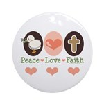 Peace Love Faith Christian Ornament (Round)