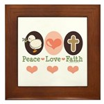 Peace Love Faith Christian Framed Tile
