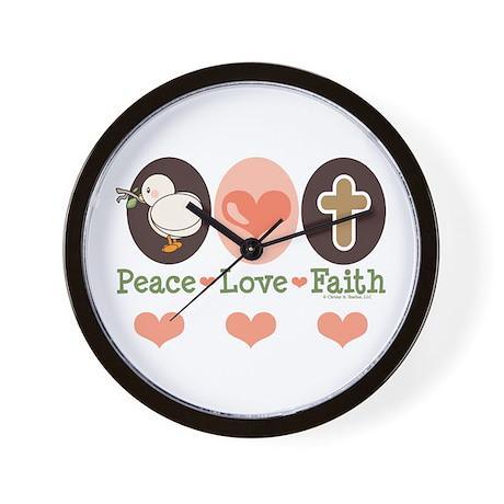 Peace Love Faith Christian Wall Clock
