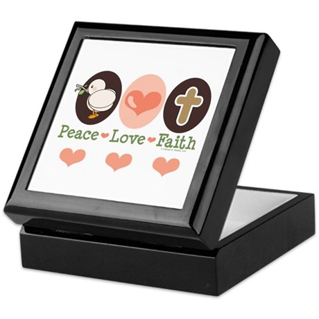 Peace Love Faith Christian Keepsake Box