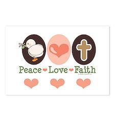 Peace Love Faith Christian Postcards (Package of 8