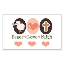 Peace Love Faith Christian Rectangle Decal