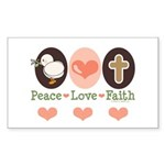 Peace Love Faith Christian Rectangle Sticker