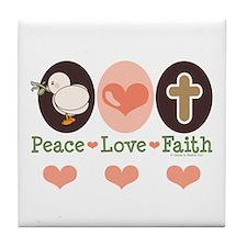 Peace Love Faith Christian Tile Coaster