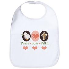 Peace Love Faith Christian Bib