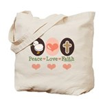 Peace Love Faith Christian Tote Bag