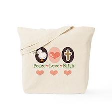 Peace Love Faith Christian Tote Bag