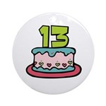 13th Birthday Cake Ornament (Round)