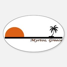 Myrtos, Greece Oval Decal