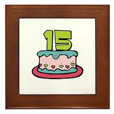 15th Birthday Cake Framed Tile