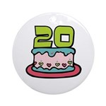 20th Birthday Cake Ornament (Round)