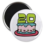 20th Birthday Cake Magnet