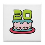 20th Birthday Cake Tile Coaster
