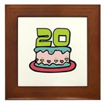 20th Birthday Cake Framed Tile