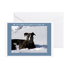 Greyhound Snow Greeting Cards (Pk of 20)