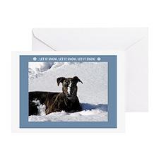 Greyhound Snow Greeting Card