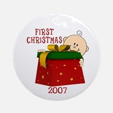 First Christmas Baby Red Presents Ornament (Round)