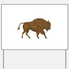 North American Bison Buffalo Charging Retro Yard S