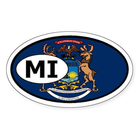 Michigan State Flag Oval Sticker