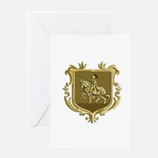 Knight Riding Steed Lance Coat of Arms Retro Greet