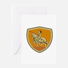 Knight Riding Steed Lance Shield Retro Greeting Ca